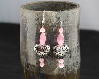 Silver Heart with Pink Cats Eye Earrings - Item 1554