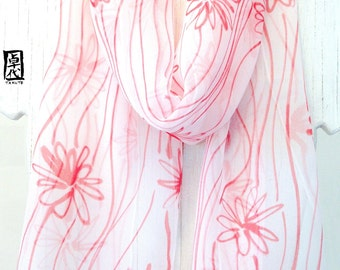 Silk Scarf Handpainted, Red and White Scarf, Red Wildflowers Scarf, Japan Scarf, Silk Chiffon Scarf, Silk Scarves Takuyo, 11x60 inches