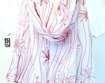 Fashion Boho Scarf, Scarf for Wife, Spring Chiffon Scarf, Handpainted Silk Scarf, Brown Meadow Posh Flowers Scarf, Silk Takuyo, 10x59 inches