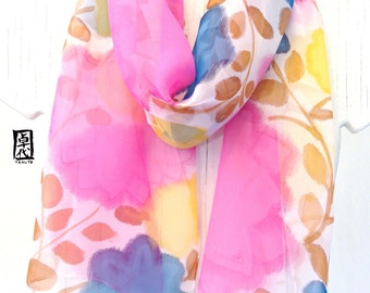 Hand Painted Silk Scarf, ETSY, gift for her, Birthday Gift, Pink, Yellow and Blue Candy Flowers Scarf, Silk Scarves Takuyo, 10x59 inches.