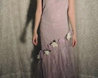 Sale / Romantic Beaded Dress /  Upcycled clothing /  Bohemian Dress /  Romantic Prom Dress  / Boho Dress . Tattered Dress .  Upcycled Dress