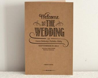 Hand Lettered Rustic Love / DIY Kraft Paper Wedding Program / Order of Service / Printable PDF Template