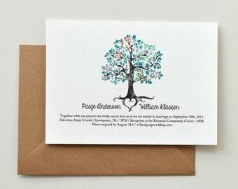 Wedding Invitation - Rustic Woodland Tree - DIY Printable PDF Template - Blue Paisley
