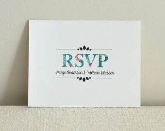 Wedding Invitation RSVP - Rustic Woodland Tree - DIY Printable PDF Template - Blue Paisley