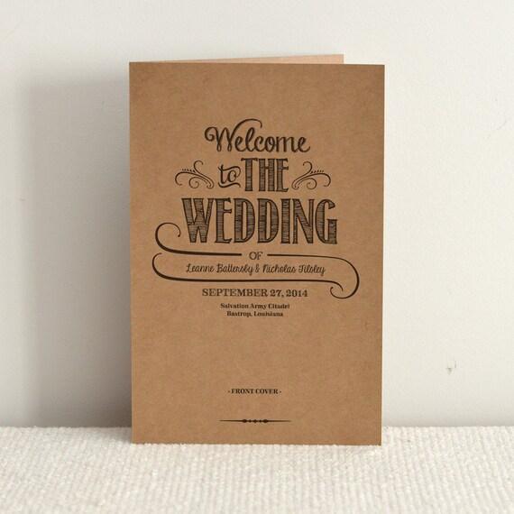 Order Of Service Wedding Ideas: Hand Lettered Rustic Love / DIY Kraft Paper Wedding Program