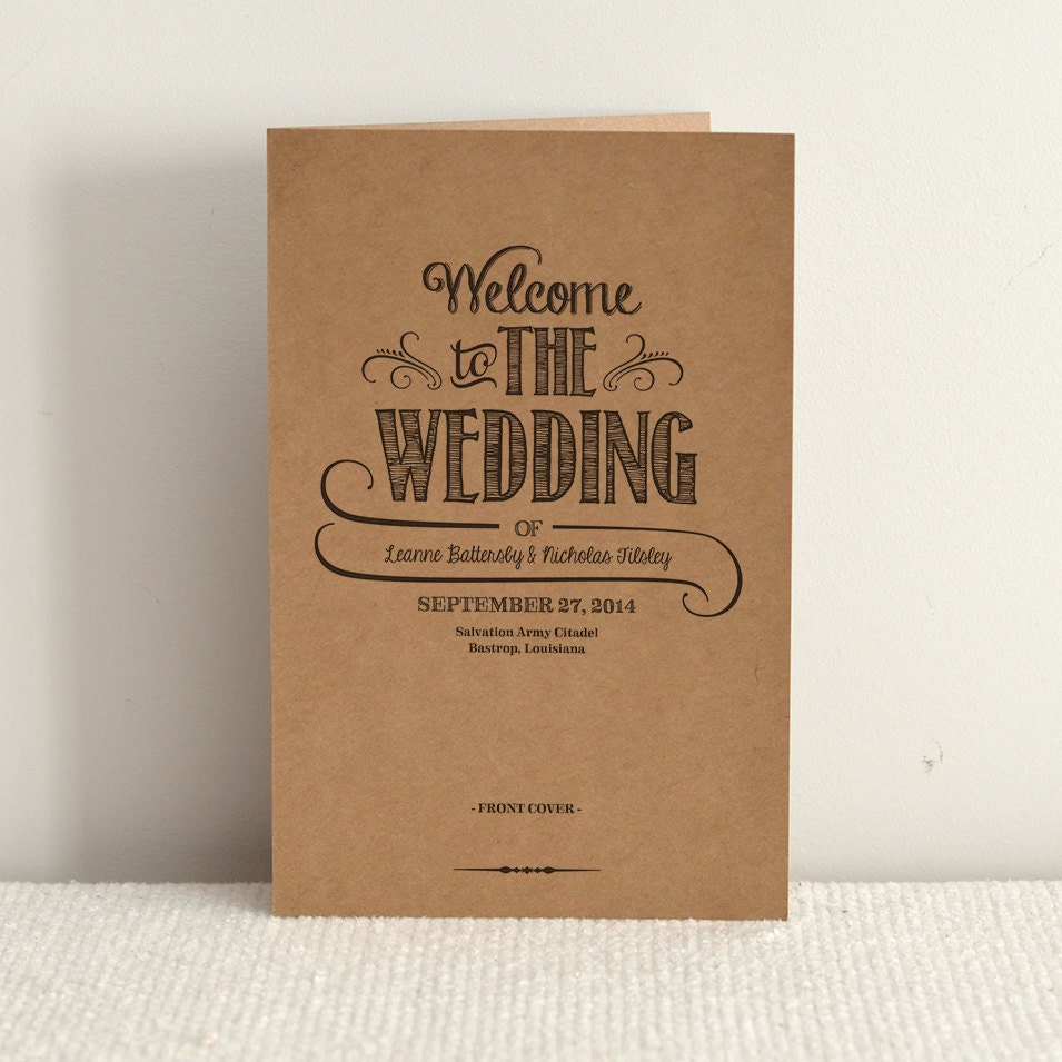 Hand lettered rustic love diy kraft paper wedding program zoom pronofoot35fo Gallery