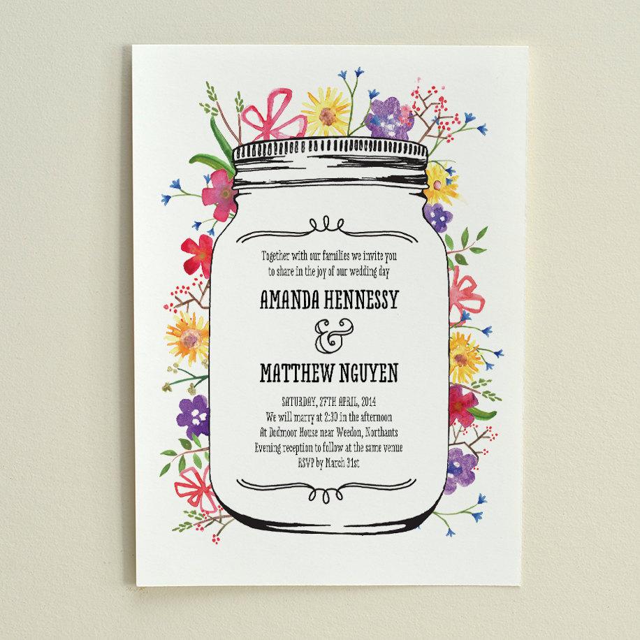 Outdoor Wedding Invitations: The Watercolor Garden / Wedding Invitation / DIY Printable PDF