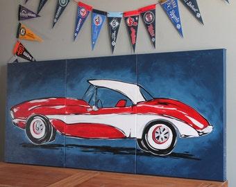 Triptych Red Classic Corvette 54 X24 Original Painting Large Triptych Art