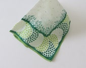 Vintage Handkerchief Hanky Hankie - Green Swirls - White Daisies - Collectible - St Paddys Day - St Patricks Day - Gift