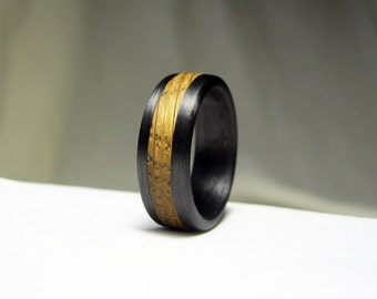 Whiskey Barrel Ring with Carbon Fiber