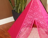 Ready to ship!!! 5 sided hot pink lace mini teepee tent with stained wooden polls