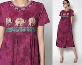 Vintage Burgandy Wine Tye Dye Elephant Dress