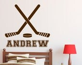 "Hockey Wall Decal with Personalized Name 22"" Tall x 23"" Wide"