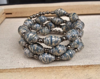Cerulean blue, Ivory and Silver Paper bead memory wire bracelet ~ One of a Kind Paper bead Jewelry