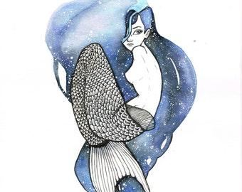 Mermaid Illustration Print