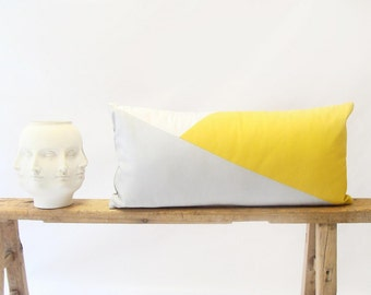 Color Block/Lumbar Pillow Cover/Triangle/ Yellow/Grey/White/Modern/Minimalistic/Stylish Accent Pillow/New Collection/Zigazag Studio Design