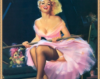 Vintage Pin-Up Girl by Edward Runci ~ Ferris Wheel ~ NEW 8x10 Art Print Reproduction