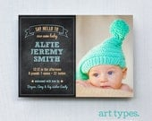 Baby Boy Birth Announcement Printable 5x7 or 4x6 postcard - Chalkboard and dot border