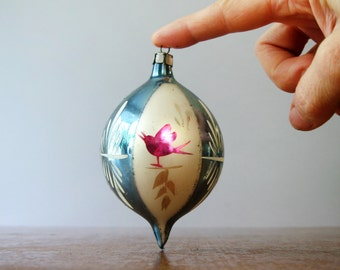 Vintage Christmas Ornament Mercury Glass Bulb / Ball Hand Painted