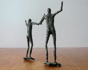Mid Century Figural Sculpture - Welded Steel Fencers