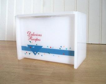 Vintage Recipe Box Swanson Advertisement 1980 Kitchen Decor Red White Blue Geometric Design