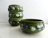 Vintage Olive green with blues whites and black mid century style cereal, oatmeal soup bowls Set of 4
