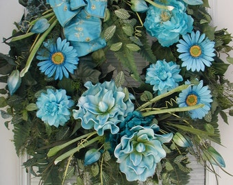 Large Front Door Wreath Spring Summer Decoration Teal Blue Magnolias Floral Decor Grapevine Wreath Elegant Fireplace Wall Hanging Lux Design