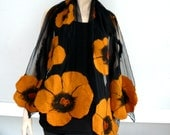 Nuno felted shawl - large scarf - wool and silk - Black silk scarf