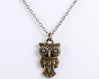 Owl Necklace Antique Brass Pendant on Chain