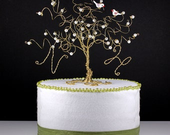 Love Birds Wedding Cake Topper Custom Wire Tree Sculpture with Two Birds or Owls