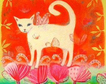 Whimsical Cat art print- Limited Edition Giclee on Paper - animal art/children's decor