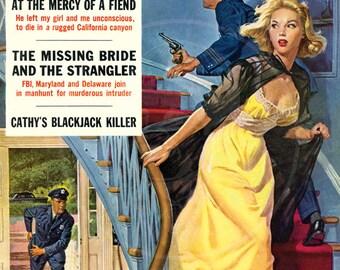True Detective (Oct 58) - 10x13 Giclée Canvas Print of a Vintage Pulp Detective Magazine Cover