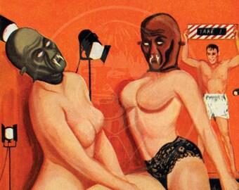 Orgy Lair - 10x15 Giclée Canvas Print of a Vintage Pulp Paperback Cover