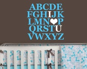 Alphabet Wall Decal for Nursery - Kids Wall Decal Vinyl ABC - Kids Quote Sticker - Kids Nursery Wall Art - Playroom Decals for Kids