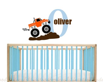 Monster Truck Wall Decal Sticker for Boys - Kids Name Wall Decal - Boys Nursery Art - Truck Wall Decal - Monogram decal for kids