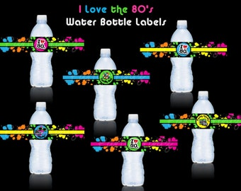 INSTANT DOWNLOAD - I love the Awesome 80's Water Bottle Labels - Juice or Drink Labels