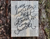 """9x12  Canvas -  """"Every love story is beautiful..."""" - Vintage book page"""