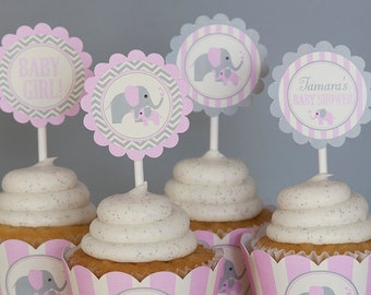 Elephant Baby Shower Cupcake Toppers - Girl Baby Shower Decorations - Pink, Grey & Cream - PERSONALIZED- Digital PDF File