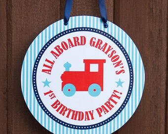 Train Birthday Door Sign - Train Party - Train Birthday Printables - Train Birthday Collection