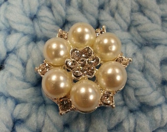 30mm Pearl Rhinstone Button