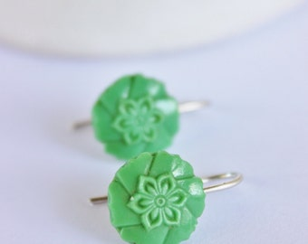 Earring Upcycled Vintage Antique Czech Glass Button Sterling Silver Jewellery Australia Green
