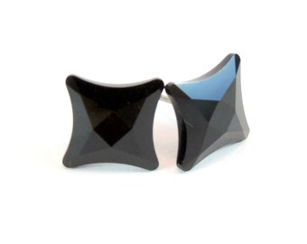 Black Star Earrings  Jet Starlet Swarovski Crystals on Titanium Post Earring  Art Deco  Hypoallergenic Sensitive Ears