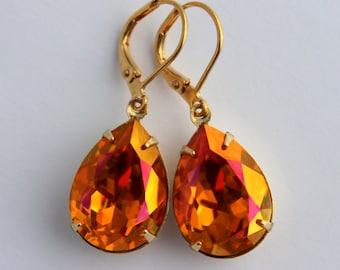 Swarovski Astral Pink earrings, teardrop earrings, pear earrings, AB earring, orange earrings, Bridesmaid earrings, Fall wedding AP06