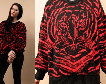 80s Vtg TiGER Face Santana KNIT Sweater / Italian Pull Over Jumper / Stripe Kitty CAT Print Red + Black Bold Comfy Top / Sm - Med