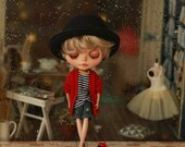 Miss yo 2015 Summer & Autumn - Mori Style Knitted Sweater Coat for Blythe doll - dress / outfit - Red
