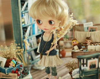 Miss yo 2015 Summer & Autumn - Mori Style Knitted Hollow Pattern Singlet Sweater for Blythe doll - dress / outfit - Blue