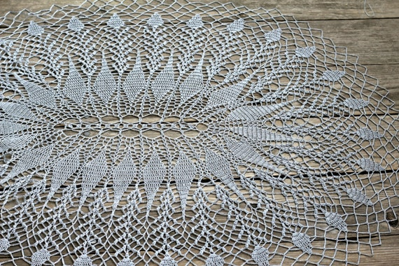 Crochet doily, crochet tablerunner, home decor, oval doily, silver doily, rustic decor, lace doily, crochet placemat