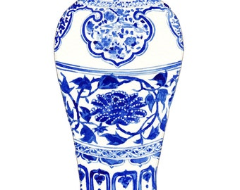 Blue and White Ginger Jar Vase No. 3 - Original Watercolor 8 x 10 - Home Decor Porcelain Chinoiserie Chinese Antique Ceramics Ming Vase