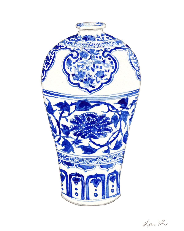 blue and white ginger jar vase no 3 original watercolor 8 x. Black Bedroom Furniture Sets. Home Design Ideas