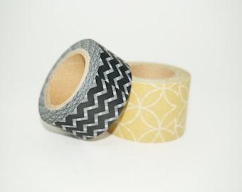 Destash Washi Tape, Chevron Washi Tape, Black and Brown Washi Tape, Pretty Patterned Washi Tape, Sale Washi Tape, Paper Tape, Diamond Washi